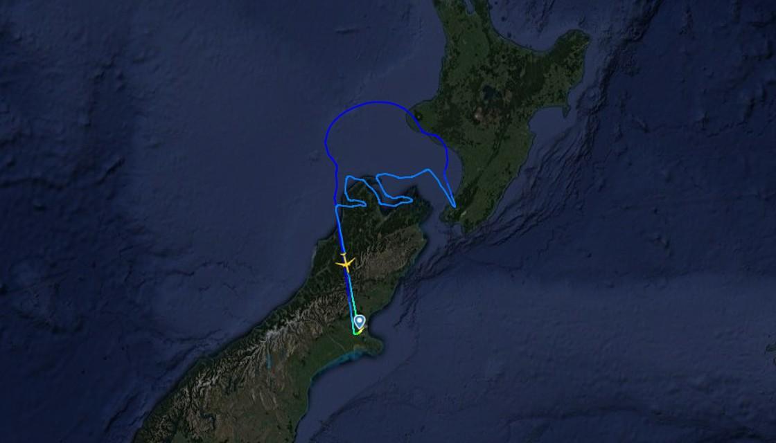 طائرة نيوزيلاندية ترسم طائر كيوي في السماء